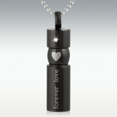 Forever Loved Black Cylinder Pendant