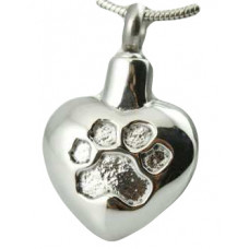 Heart With Silver Inlay Paw Print