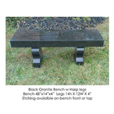 Black Granite Bench with Harp Legs