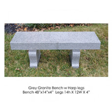 Grey Granite Bench with Harp Legs