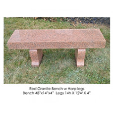 Red Granite Bench with Harp Legs